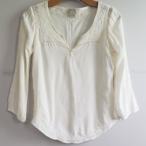 Lucky Brand Ivory Embroidered Top XS